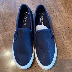 Brand New Sperry Leather Slip-on Navy Shoes 7